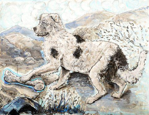Rez Dog Honoring a Buffalo Shin